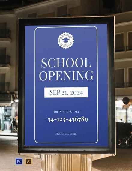 Free School Opening Digital Signage Template