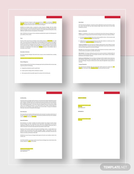 HR Contract template