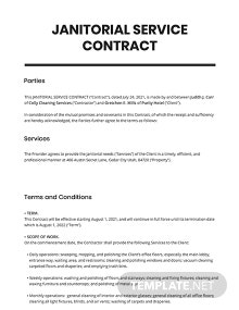 Janitorial Service Contract Template
