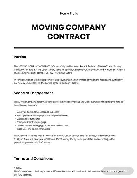 Moving Company Contract Template