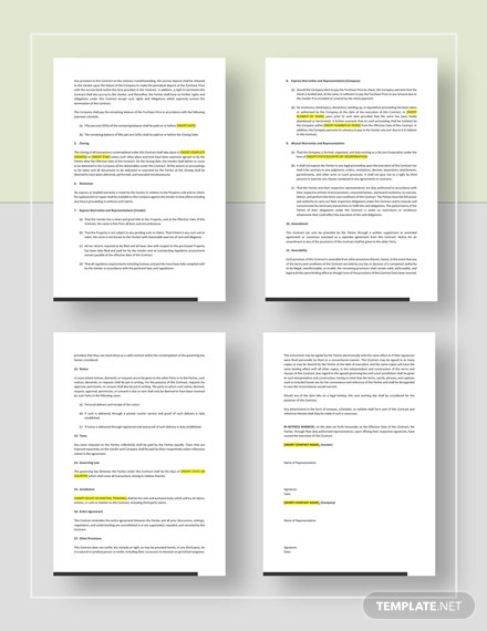 Sample Purchase Agreement Contract Form