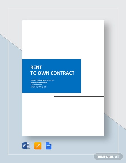 Rent to Own Home Contract Template