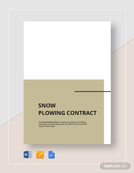 Snow Plowing Contract Template