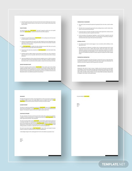 Sports Coach Contract Download