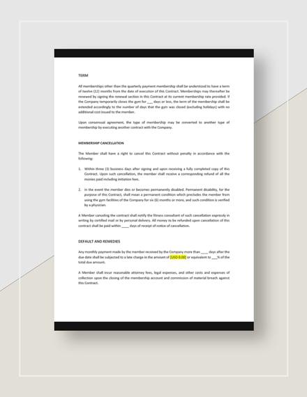 Sample Standard Gym Membership Contract