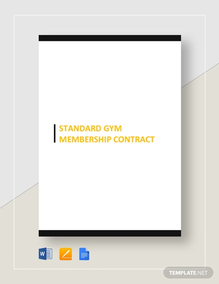 Standard Gym Membership Contract Template