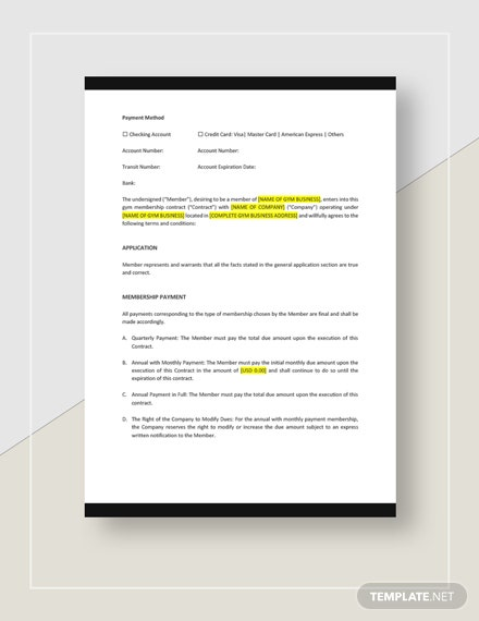 Standard Gym Membership Contract Download