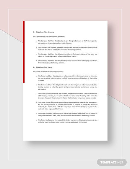 Training Consultant Contract Download
