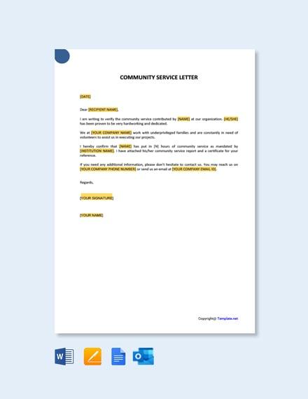 Free Community Service Letter