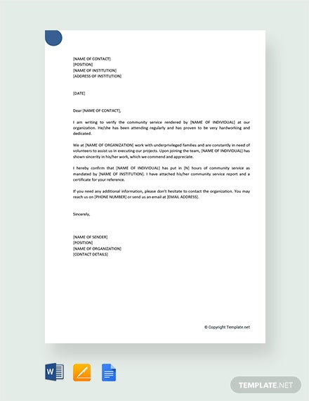 Community Service Letter | Free Community Service Letter Template Download 1851 Letters In