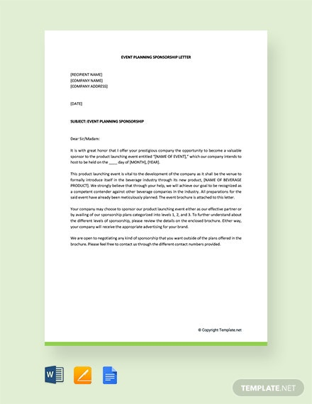 Free Event Planning Sponsorship Letter