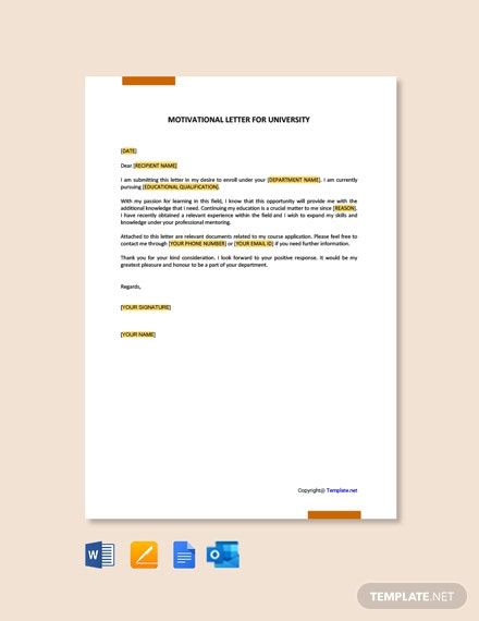 Free Motivation Letter for University