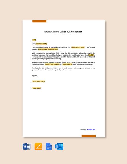 Free Motivation Letter for University