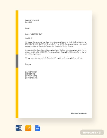 Free Nonreceipt of Payment Letter