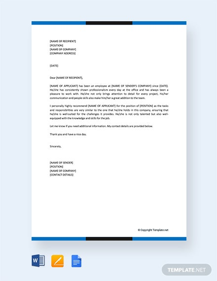 Free Personal Letter of Recommendation For A Job