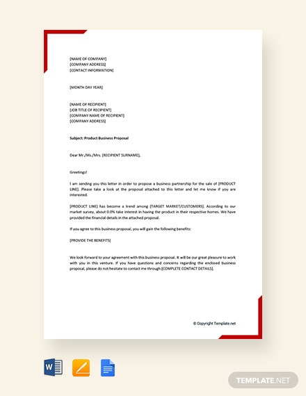 FREE Product Business Proposal Letter Template in Microsoft