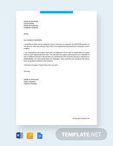 Free Professional Thank You Letter After Interview