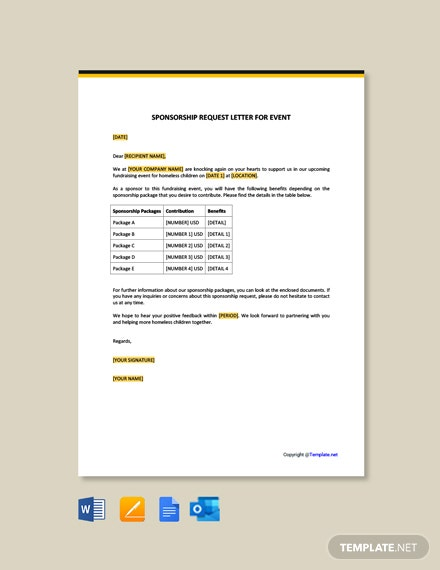 Sponsorship Request Letter for Event Template [Free PDF] - Google Docs, Word, Outlook, Apple Pages