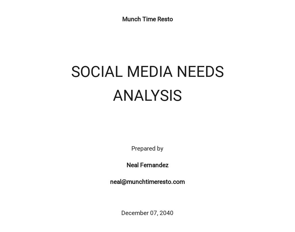 Social Media Needs Analysis Template