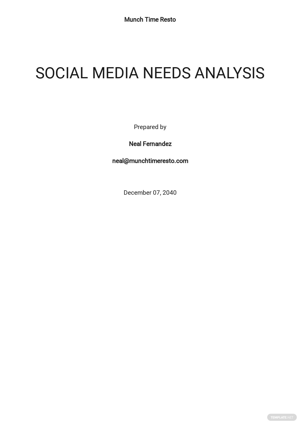 Social Media Needs Analysis Template [Free PDF] - Google Docs, Word, Apple Pages