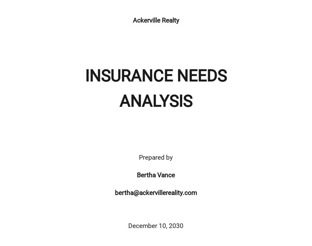 Insurance Needs Analysis Template