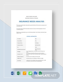 Insurance Needs Analysis Template