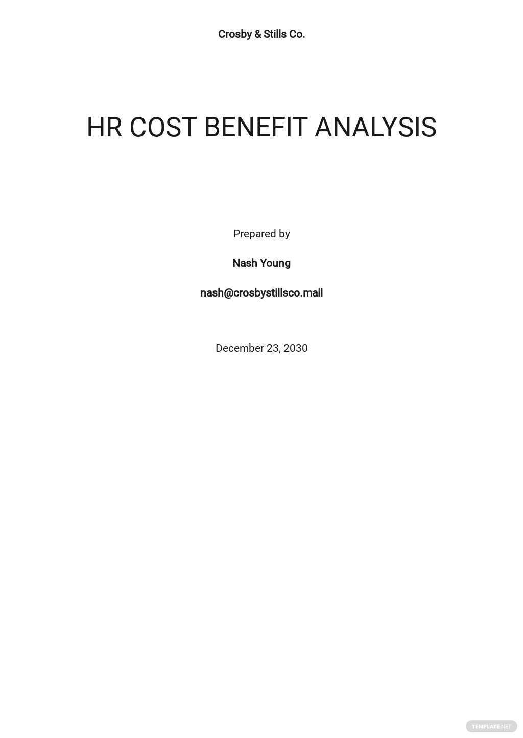 HR Cost Benefit Analysis Template