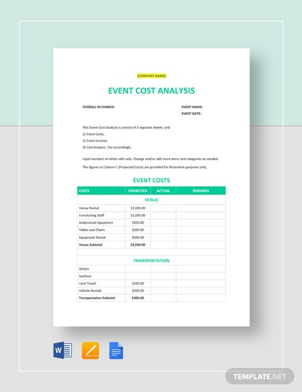 Event Cost Analysis Template