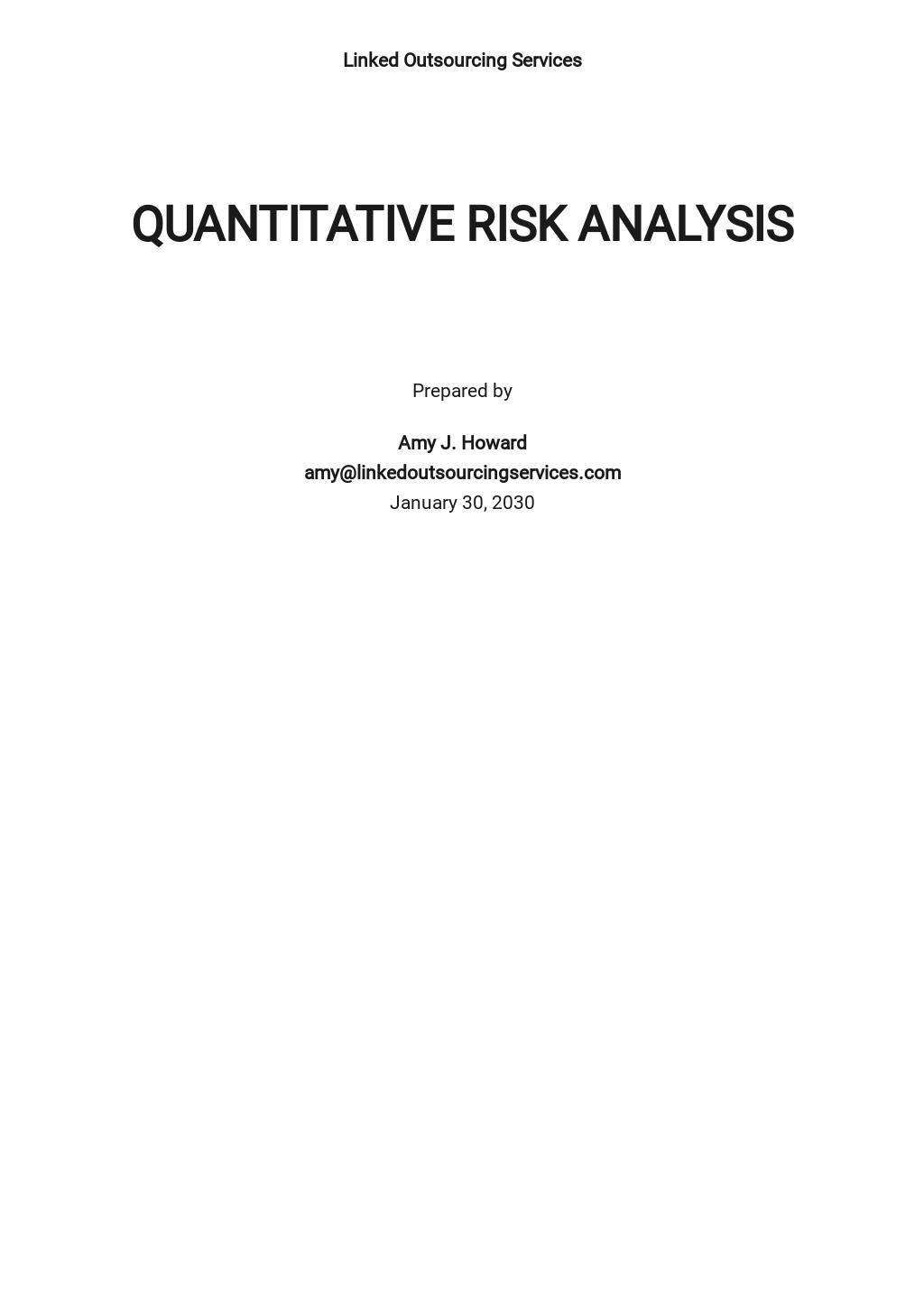 Quantitative Risk Analysis Template