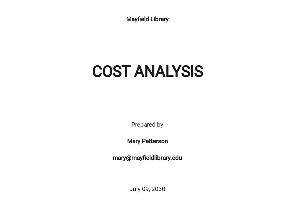 Vendor Cost Analysis Template