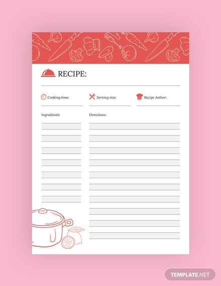 free recipe journal template download 13 notebook journals in