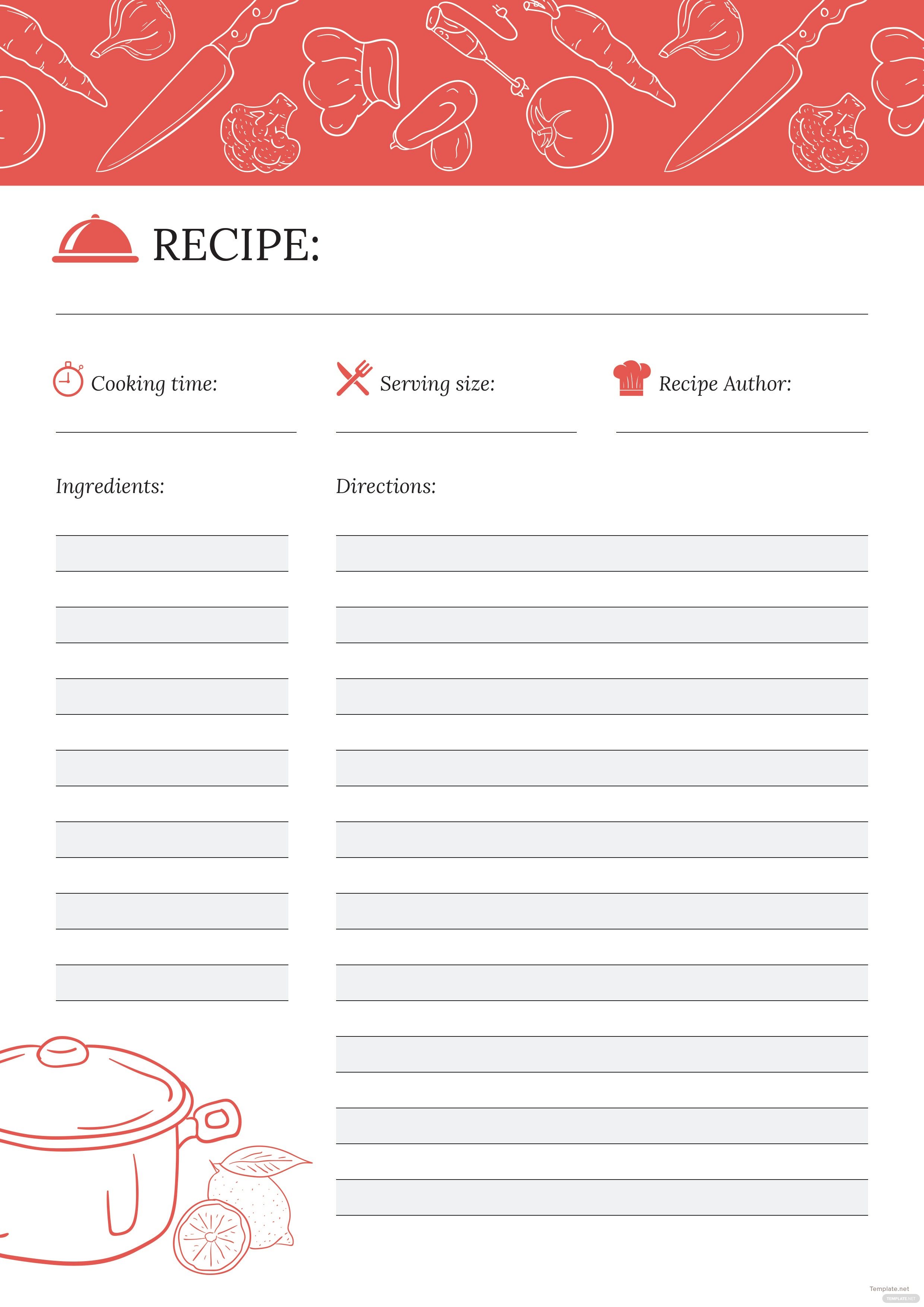 free recipe journal template in adobe photoshop