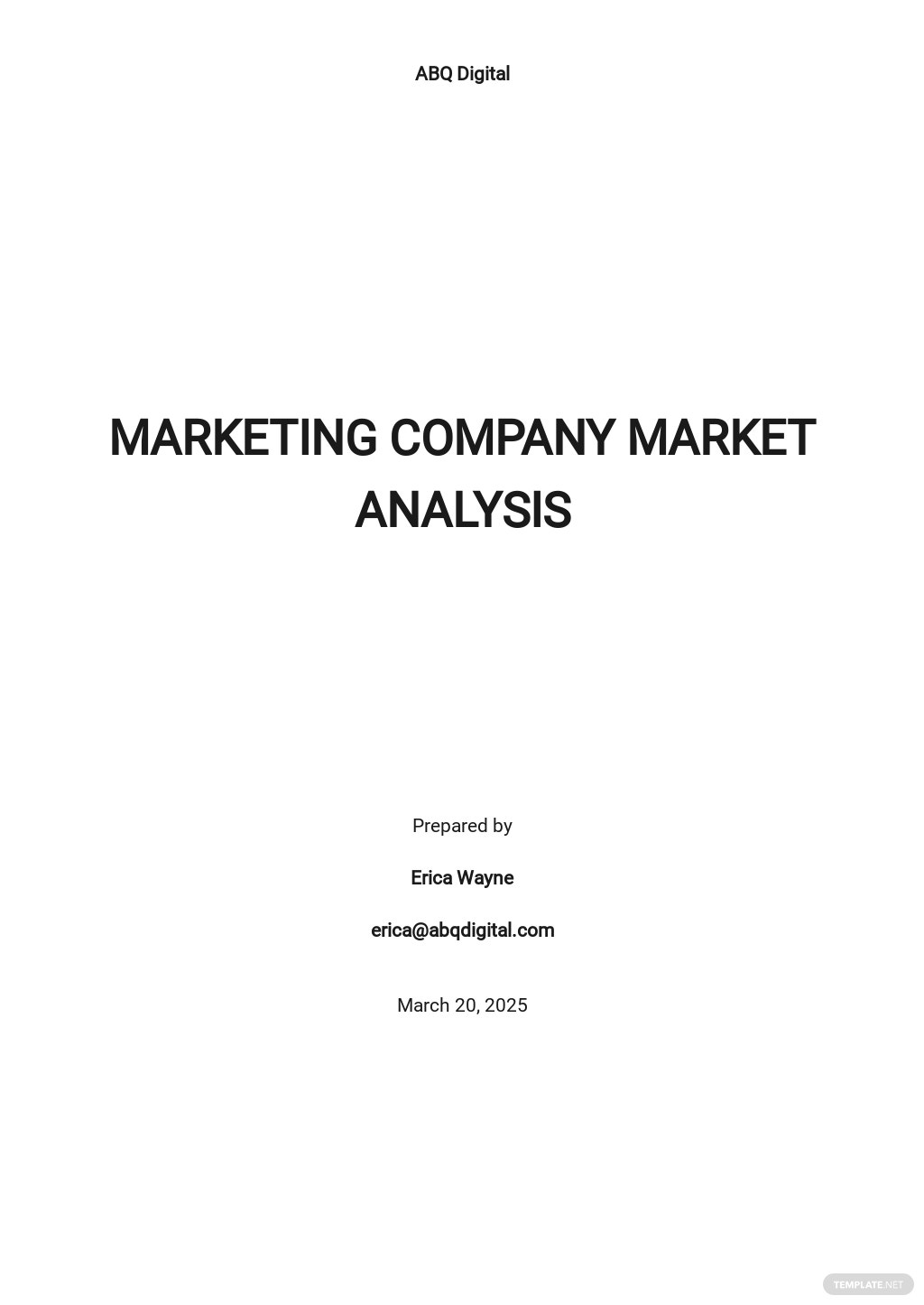 Marketing Analysis Template