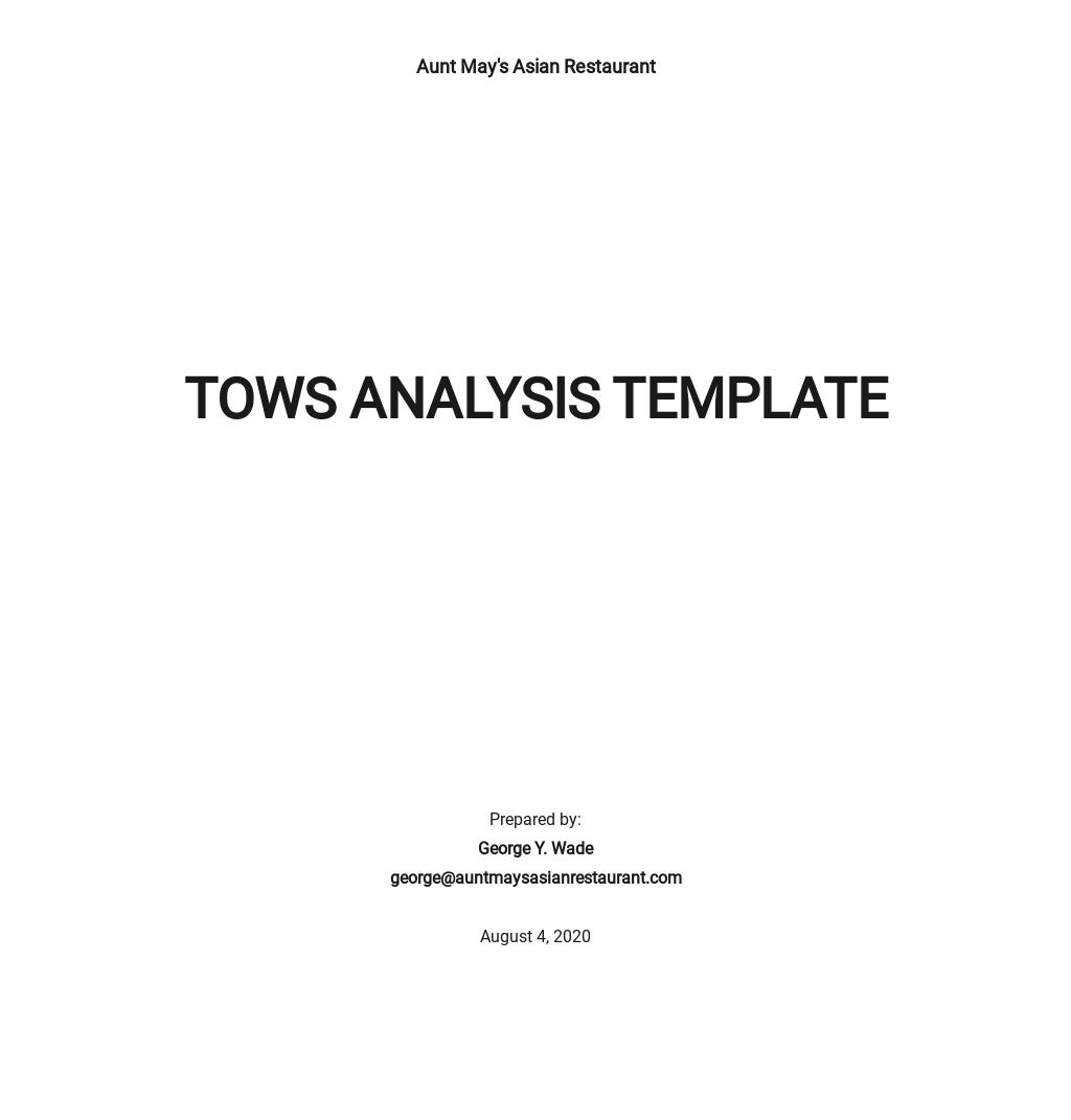 TOWS Analysis Template