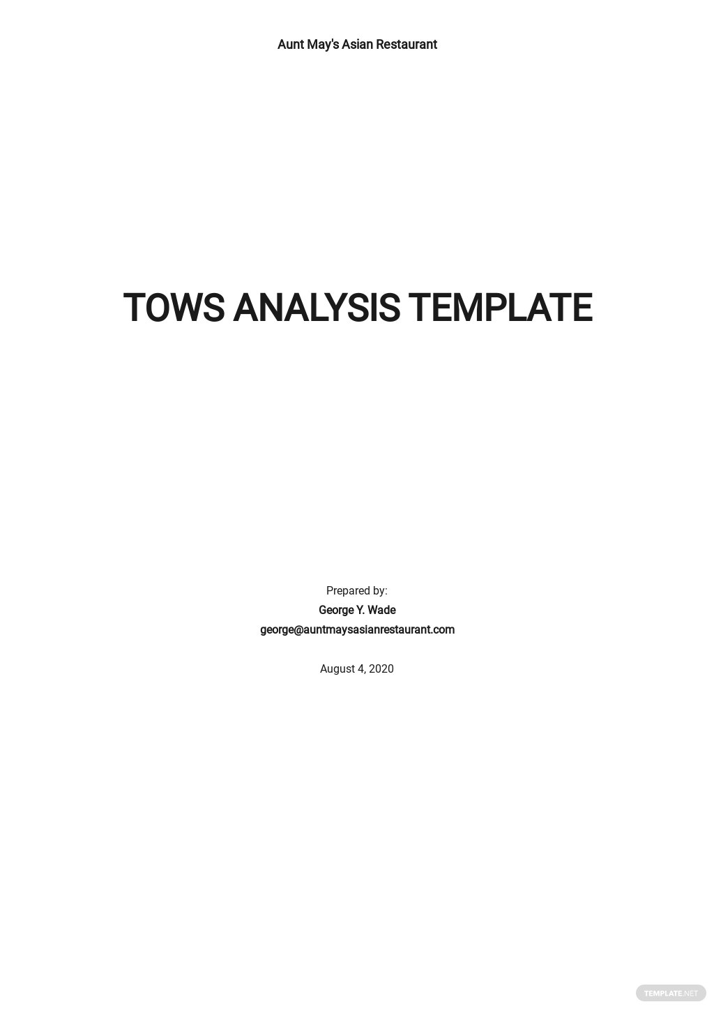 TOWS Analysis Template