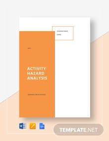 Activity Hazard Analysis Template