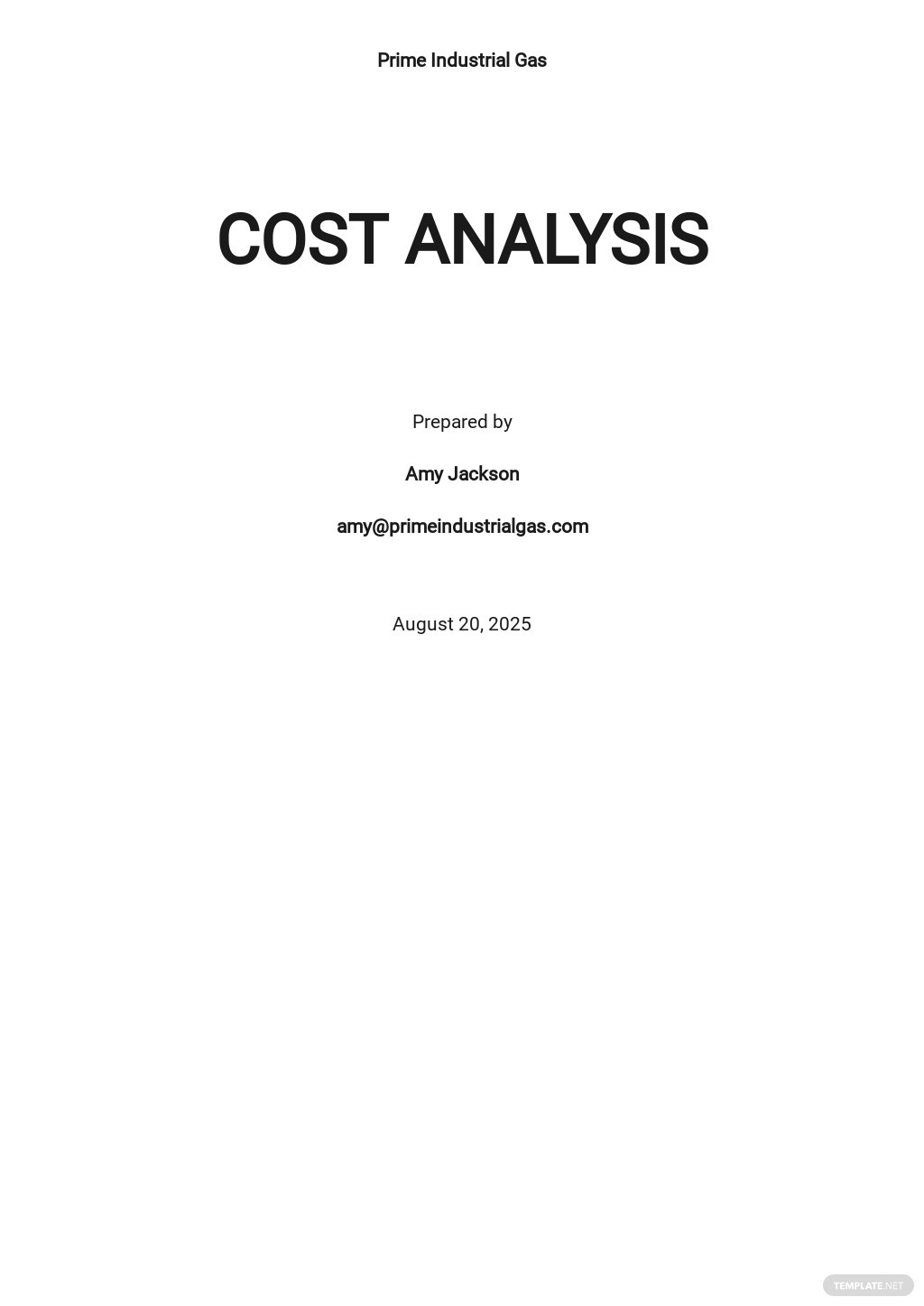 Sample Cost Analysis Template