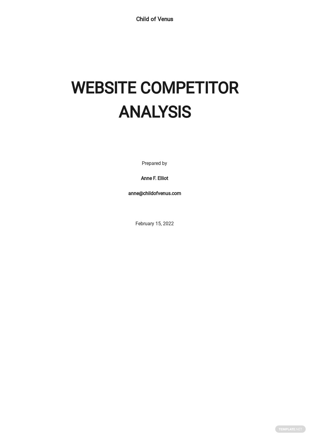 Website Competitor Analysis Template