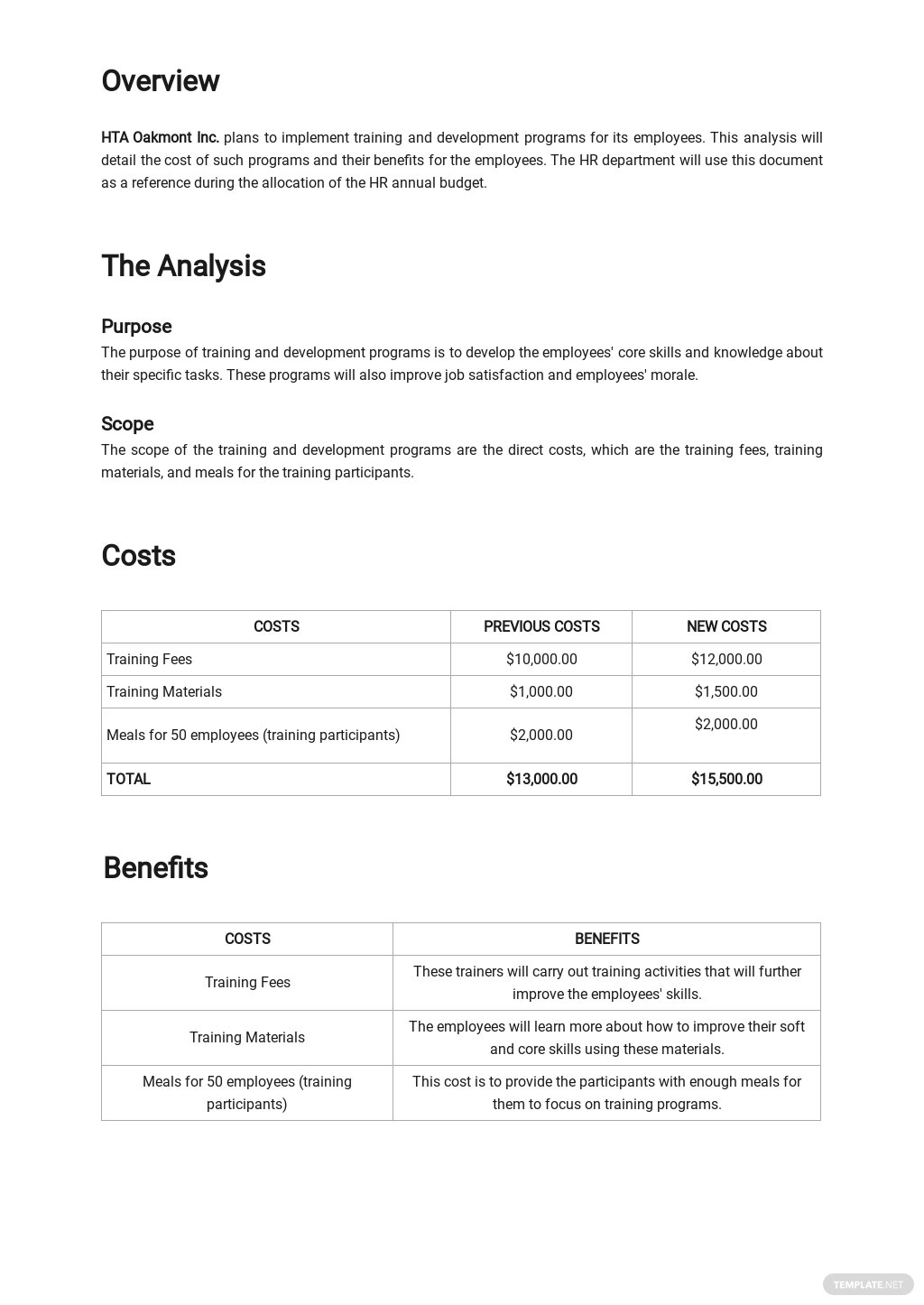 Simple HR Cost Benefit Analysis Template 1.jpe