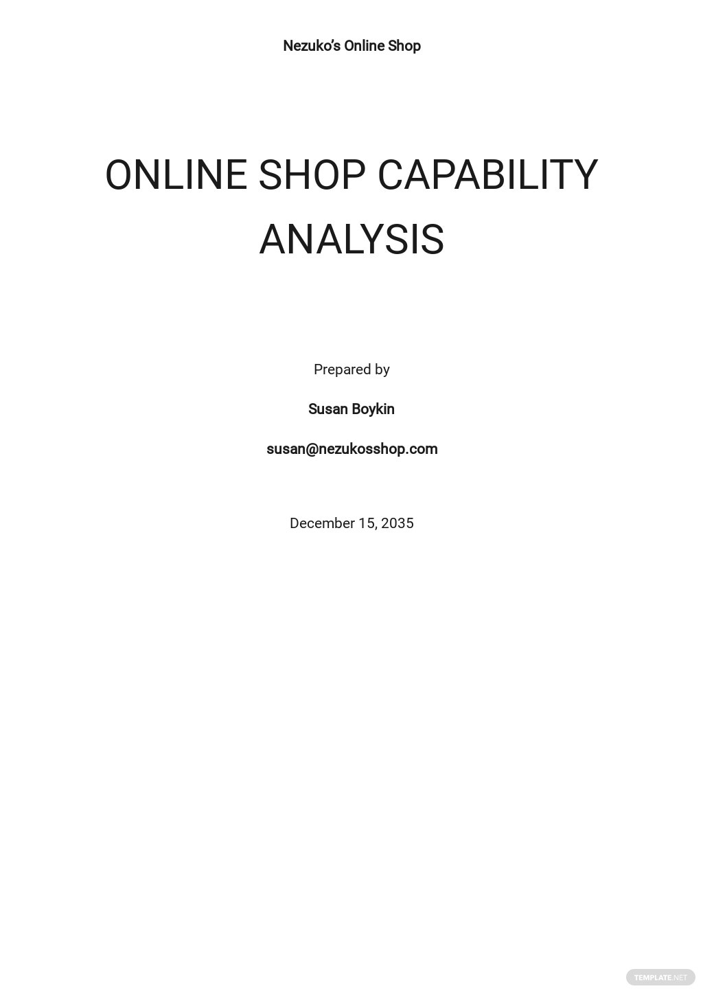 Capabilities Analysis Template