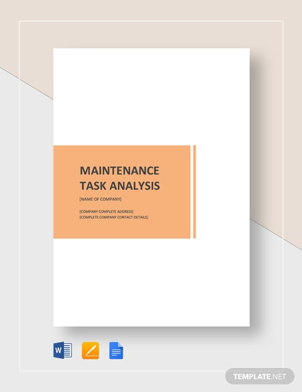 Maintenance Task Analysis Template