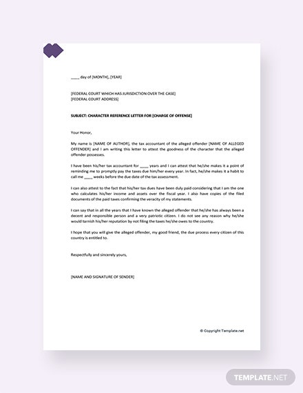 Character Reference Letter for Courts Template [Free PDF] - Google Docs, Word