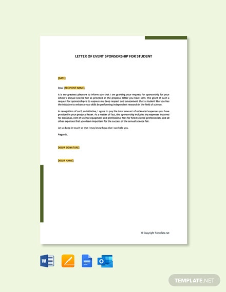 Free Letter of Event Sponsorship For Student Template