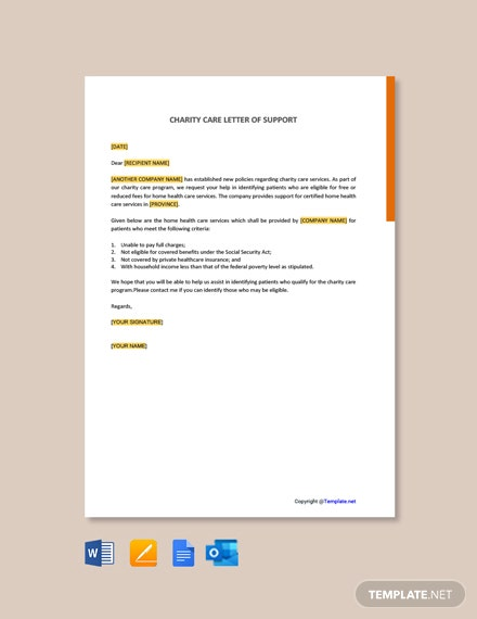 Charity Care Letter of Support Template