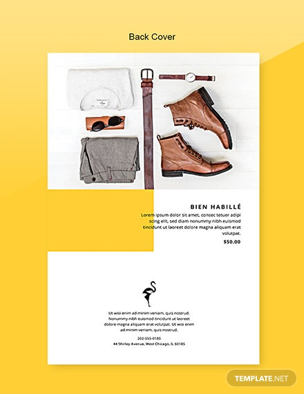 Free Fashion Catalog Template Back