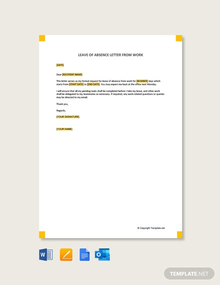 Leave of Absence Letter from Work Template