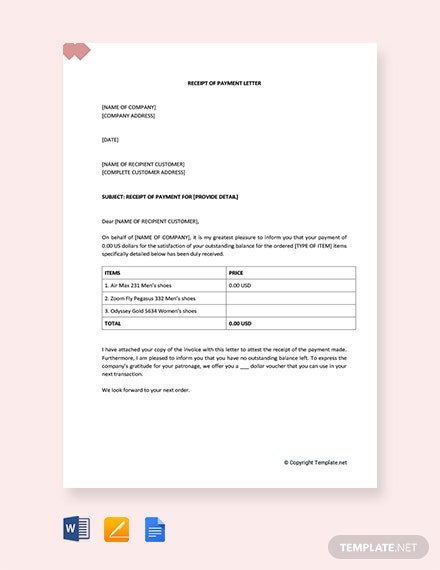 Free Receipt of Payment Letter