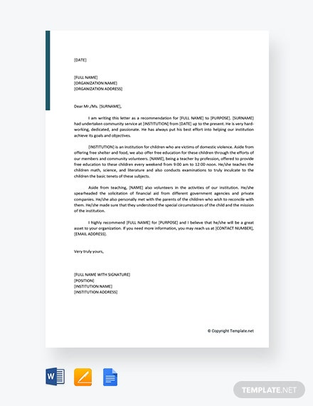 FREE Community Service Letter of Recommendation Template ...