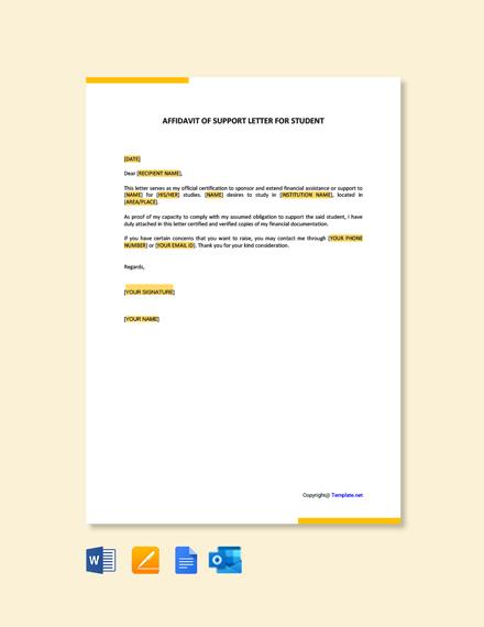 Free Affidavit of Support Letter for Student