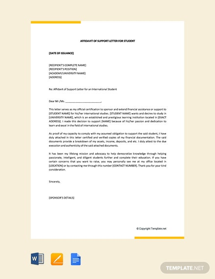 Free Affidavit of Support Letter for Student